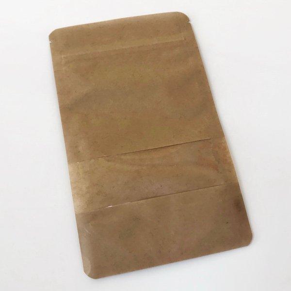 Standbodenbeutel aus Kraftpapier mit  Druckverschluss & Fenster